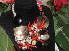 placche di madreperla grigia, perle, coralli polimerici Pagina di PF