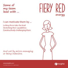 Hints for motivating team members who lead with Fiery Red energy. Leadership Types, Leadership Development, Personality Profile, Personality Types, Insights Discovery, Team Motivation, Team Success, Customer Insight, Wheel Of Life