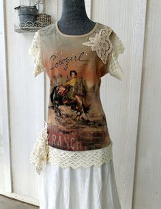 Cowgirl Lace Tee Shirt Top Prairie Romantic by SweetRepeatVintage