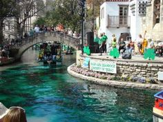 San Antonio Riverwalk..and the water is now GREEN! Happy St. Patrick's Day