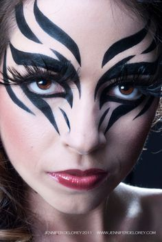 Black lines face paint