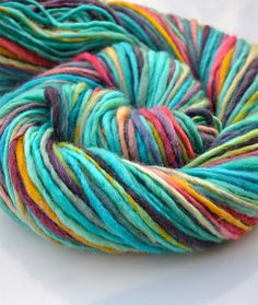 Wake me up worsted BFL handspun yarn by Yarnachy on @Etsy