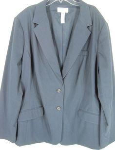 Covington Women Plus Size Blazer Navy Blue Size 24W #Covington #Blazer