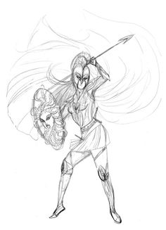 Athena in action! (I love her) (Why can't we have a good Trojan War movie with gods?)