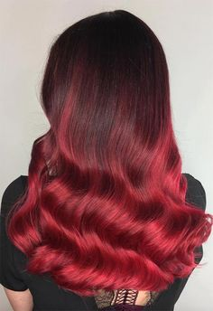 63 Hot Red Hair Color Shades to Dye for: Red Hair Dye Tips & Ideas - Hair - Peinados Hot Hair Colors, Red Hair Color, Cool Hair Color, Red Dip Dye Hair, Dyed Hair Pastel, Auburn Red Hair, Red Orange Hair, Ruby Red Hair, Red Hair Tips