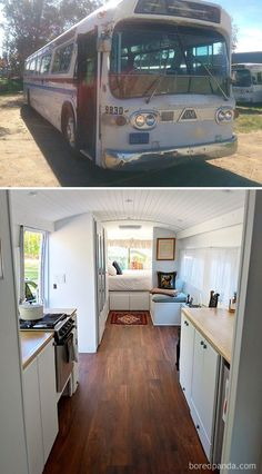 There are a lot of people around the world dreaming about tiny house and go for their dream! You will find 30 awesome examples of perfect School Bus and van conversions into tiny House - for couples, for family of for one person and so one. Motor Casa, Casas Trailer, Bus Remodel, School Bus Tiny House, Rv Bus, Bus Motorhome, Converted School Bus, Kombi Home, Bus Living