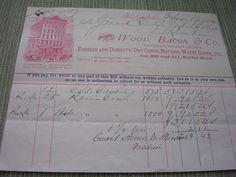 Vintage Receipt 1884 Wood Bacon Wholesale White Goods | eBay