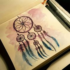 #dreamcatcher  Buona notte  / Good night  #watercolor #acquerello #illustrazione #illustration #art #artwork #visualart #ink #sketch #sketching #paint #painting #drawing #draw #london #uk #londra #dream #goodmorning #loveit #buongiorno