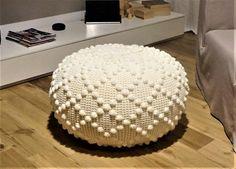 Crochet Pouf Poof Ottoman Footstool Home Decor Pillow Decor Pillows, Decorative Pillows, Crochet Pouf, Crochet Shoulder Bags, Crochet Market Bag, Crochet Patterns, Crochet Edgings, Crafts For Kids, Diy Crafts
