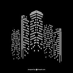 Modern city night background Free Vector