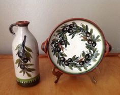 Decorative Bowl and Matching Jug Hand Painted with an Olive Branch from Italy