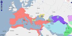 ➯ Ver en Pinterest: #90 #Mapa de Europa, Oriente Medio y África del Norte, 1 a. C.  Fuente: geacron.com