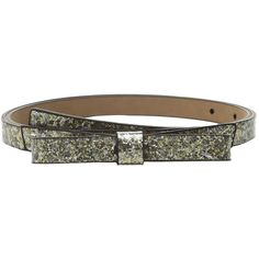 Kate Spade New York Glitter Classic Bow Belt Women's Belts ($58) ❤ liked on Polyvore featuring accessories, belts, gold, kate spade, genuine leather belt, adjustable leather belt, kate spade belt and 100 leather belt