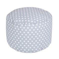 polka dot gray pouf - great in the nursery and doubles as playroom seating later on. Win Win!