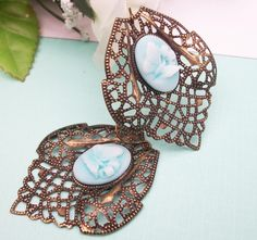 Blue Cameo Butterfly Brass Filigree Earrings by JewelryJust4You on Etsy