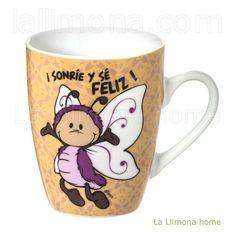 Taza Nici con el mensaje Sonrie y sé feliz. http://www.lallimona.com/online/nici/