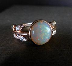 Leaf opal ring. 14k pink gold opal ring. Opal by ValerieKStudio