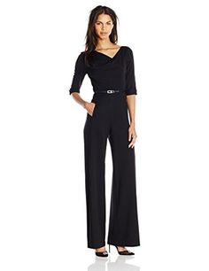 91d5cf3a1c30 Black Halo Women s 3 4 Sleeve Jackie Jumpsuit