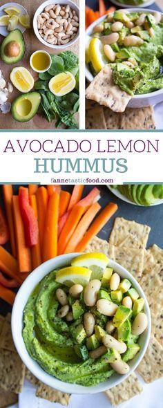 Avocado Lemon Hummus - a flavorful twist on hummus that packs in veggies and healthy fat! | hummus recipe | avocado hummus recipe | easy hummus recipe | vegan snack ideas |