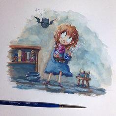 Some hocus pocuszzzz... #watercolor #gouache #goodnight #angelasongart