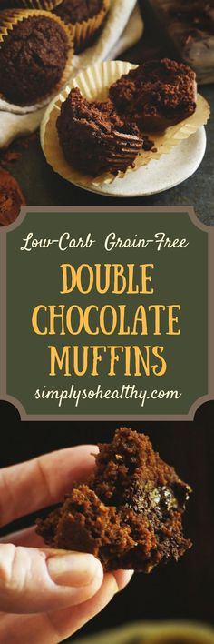 This Low-Carb #Double #Chocolate #Muffins #Recipe brings chocolate to the breakfast table in a healthy way. These decadent muffins can be part of a #lowcarb, #keto, #glutenfree, #grainfree, #LCHF, #diabetic, #Atkins, or #Banting diet.