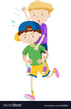 Two boys playing piggy back ride vector image on VectorStock Piggy Back Ride, Boys Playing, Single Image, Games For Kids, Adobe Illustrator, Vector Free, Children, Illustration, Fictional Characters