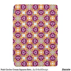 Pink Circles Cream Squares Retro Pattern