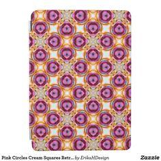 Pink Circles Cream Squares Retro Pattern