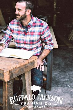 This men's flannel shirt is made of soft, sturdy, midweight flannel. Two front pockets with button flaps. This is the flannel shirt he wants to wear (and you want to see him in). Shown here in Lodge Plaid.