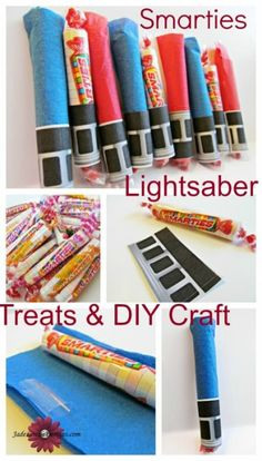 Smarties Lightsaber treats! Great for Halloween, Star Wars lovers, birthday parties or just for fun! So easy to do, the kids can make them! Includes Free Printable for lightsaber hilt!