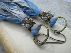 Sari silk tassel earrings, fair trade recycled sari silk, bohemian jewelry, eco friendly earrings, shoulder dusters, blue silk tassels
