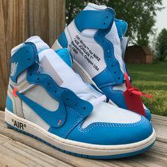 "Air Jordan 1 Off White ""UNC"" Air Jordan Sneakers, Jordans Sneakers, Air Jordans, Jordan 1 Unc, Thing 1, Hypebeast, Yeezy, Nike Air Force, Off White"