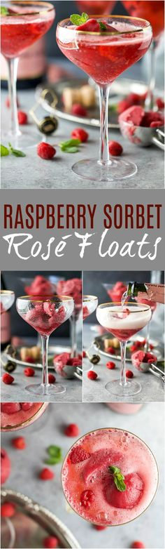 Raspberry Sorbet Rosé Floats - a fun beautiful cocktail to serve on Valentines Day or a ladies brunch! Made with raspberry sorbet,Rosé and vanilla vodka!
