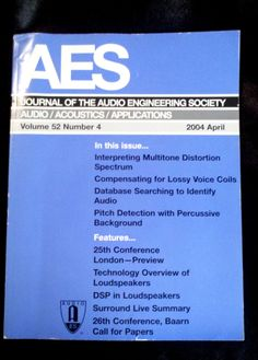 Record engineer, sound tech? RARE AUDIO ENGINEERING SOCIETY AES JOURNAL ACOUSTICS SOUND LOUDSPEAKERS MUSIC MICROPHONES RECORDING - on eBay! $6.98