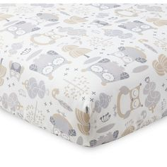 "The Night Owl Fitted Sheet is made from 100% cotton with a grey and natural owl pattern. Designed to fit a standard 28""x52"" crib mattress, sold separately."