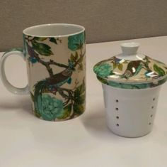 Peacock Tea Cup with Infuser and Lid Porcelain Blue Green Design