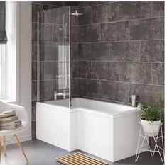 Left Hand L-Shaped Bath - Screen, Rail & Front Panel (Excludes End Panel) Big Bathrooms, Bathroom Sets, Small Bathroom, Bathroom Faucets, Modern Bathroom, Master Bathroom, Shower Over Bath, Glass Shower, Spa Shower