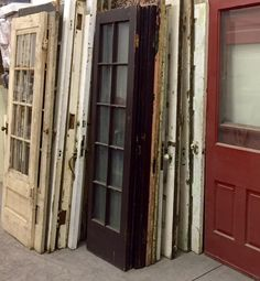 Stacks of Vintage Doors salvaged from Northern Ohio deconstrction projects. Please click the image for more architectural decor. Vintage Doors, Vintage Windows, Glass Panel Door, Panel Doors, Salvaged Doors, Collage Picture Frames, Photo Displays, Vintage Industrial, French Doors