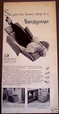 """Barcalounger Chair """"Floating Comfort"""" Furniture (1956)"""