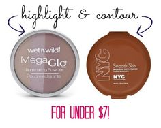 Highlight and Contour for Less than $7! Wet n Wild MegaGlo in Catwalk Pink and NYC Smooth skin in Sunny are the best drugstore highlight and contour.