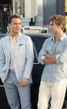 """""""Yes, Then Zero,"""" Season 5 - """"Living on a yacht, Bass takes to seafaring fashions like a fish to water. We had to get multiples on his light blue Banana Republic blazer as he gets covered in champagne later in the episode,"""" Daman reveals. """"The yellow cravat is high-seas perfection, and the navy pocket square is nautical nonsense!  Ahoy matey!"""""""