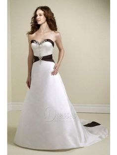 Discount Princess Floor-length Strapless White Satin Dress