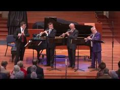 Flutists Sir James Galway, Robert Langevin (Principal Flute, New York Philharmonic), Denis Bouriakov (Principal Flute, Met Opera Orchestra), and Stefán Hösku...