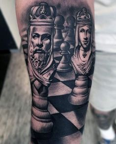 60 King Chess Piece Tattoo Designs For Men - Powerful Ink Ideas Arm Sleeve Tattoos, Tattoo Sleeve Designs, Tattoo Designs Men, Chess Piece Tattoo, Pieces Tattoo, King Crown Tattoo, Queen Tattoo, Couple Tattoos, Tattoos For Guys