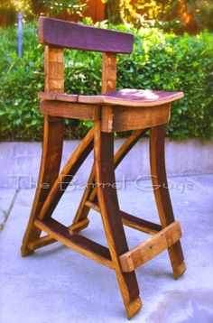 From novice to advanced, these woodworking projects will challenge and delight. Wine Barrel Chairs, Whiskey Barrel Furniture, Wine Barrels, Barrel Projects, Wood Projects, Woodworking Projects, Diy Bar Stools, Rustic Stools, Barris