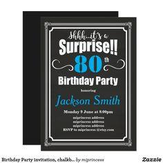 Birthday Party invitation, chalkboard background