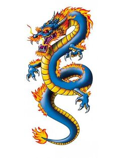 Chinese Dragon Tattoo - Temporary Tattoos for kids - Tattootatu Chinese Dragon Drawing, Chinese Dragon Tattoos, Japanese Dragon, Japanese Art, Dragon Tattoo Images, Dragon Tattoo For Women, Dragon Tattoo Designs, Dragon Boat, Blue Dragon