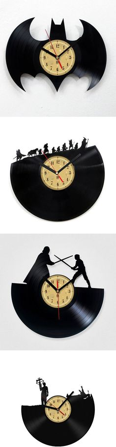 Handmade Vinyl Record Clock::  With over 50 different scenes to choose from, I'm sure that you will find at least 2 that would make your sad, empty wall space feel more loved.