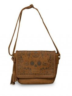 Faux Leather Skull/Birds Crossbody Bag by Loungefly (Brown)