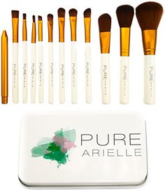 Insane Deal Ends Today Pure Arielle Synthetic Makeup Brush Set Includes Metal Travel Organizer Box Case  Best Cheap Make Up Brushes Kit -- Want additional info? Click on the image. (Note:Amazon affiliate link) #Makeup